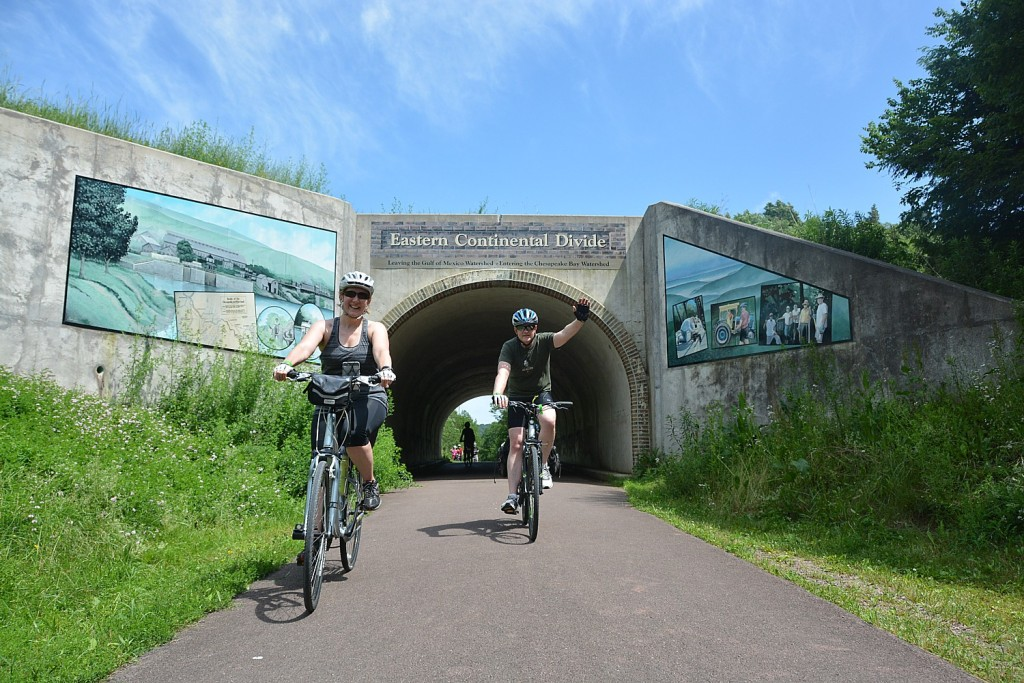 Riders on Rail-Trails Conservancy's Sojourn on the Great Allegheny Passage pass through the Eastern Continental Divide. This year, RTC has expanded the Sojourn series to four hosted bike tours (photo courtesy of Rail-Trails Conservancy).