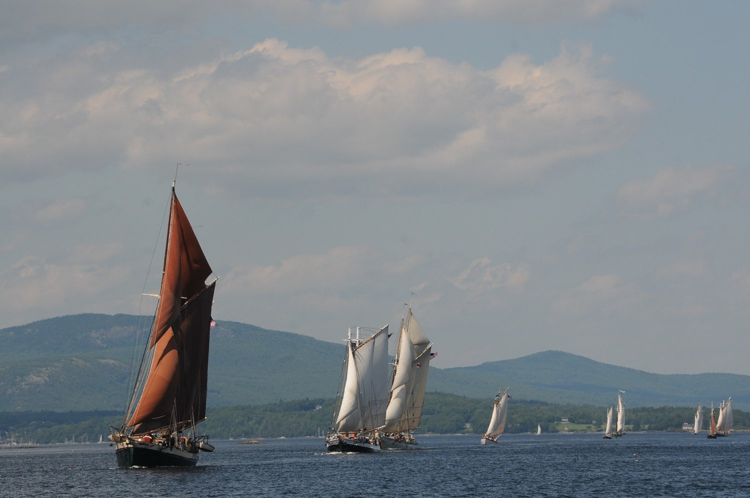 Coming down the home stretch: historic Maine windjammers make quite a sight as they dash for the Rockland Lighthouse at the end of the Great Schooner Race © 2016 Karen Rubin/news-photos-features.com