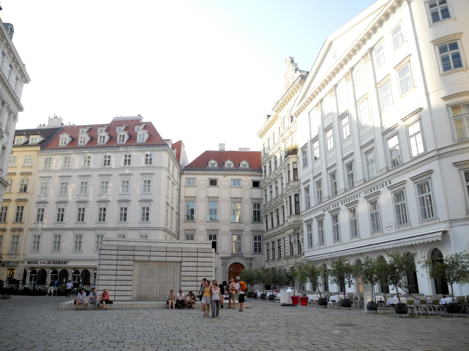 Judenplatz, the historic Jewish Quarter of Vienna, Austria, has a museum, an archeological excavation of a Medieval synagogue, and Holocaust memorial. © 2016 Karen Rubin/goingplacesfarandnear.com